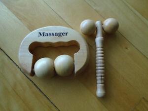 rouleau en bois pour massage/ diffuseur/ brosse luffa pour dos