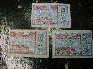 3 Billets ou 3 Correspondance metro de Montreal,1970,1971,1972