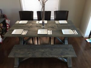 Rustic Farm Style Dining Room Table and Bench - NEW