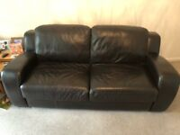 Dark Brown Leather Three Seat Sofa, Arm Chair & Foot Stool
