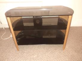 Black Glass And Wood Effect TV Unit