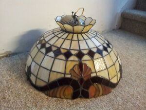 """Vintage 21"""" TIFFANY Style Stained Glass Shade Ceiling Light"""