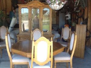 Beautiful Oak Dining Table Chairs And Hutch For Sale