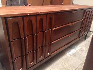 Mobilier de chambre mid century en bois - vintage - teck