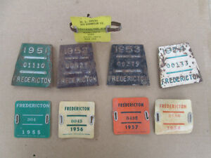 RARE COLLECTION- FREDERICTON LICENSE PLATE/TAGS- 51 TO 59