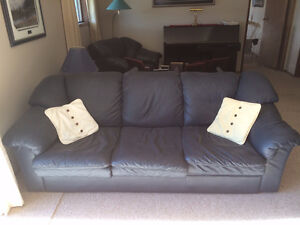 Navy Blue Leather Couch, Loveseat and Chair for Sale