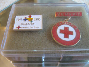 """COLLECTOR'S RED CROSS SERVICE PIN & """"FRIENDS for LIFE"""" LAPEL PIN"""