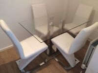 Modern Glass Dining Table with 4 White Leather Chairs