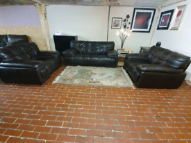 Sofology violina 2+1+1seater dark brown real leather sofa's