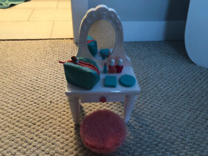 """My Life 18"""" doll vanity with stool"""