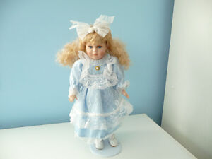 Porcelain Doll With Stand And Original Box - 4 To Choose From London Ontario image 2