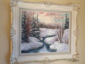 Antique Canadian winter oil painting