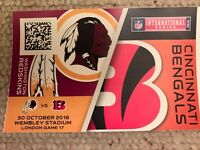 NFL Wembley ticket LOWER TIER Washington Redskins vs Cincinnati Bengals 30/10/16