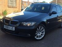 REDUCED!£3995.00 (08) BMW 320D SE TOURING ESTATE 1995cc BLACK* BHP 175 *FULL SERVICE HISTORY*2 KEYS*