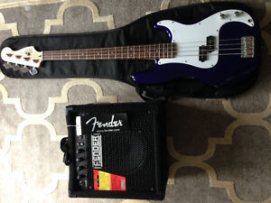 FENDER GUITAR WITH FENDER RUMBLE 15 AMP