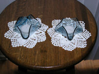 PAIR OF STAINED GLASS TEA LIGHT CANDLE HOLDERS