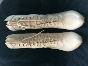White, lace up boots