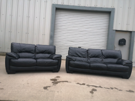Black dfs leather 3+2 seater sofas couches suite 🚚🚚