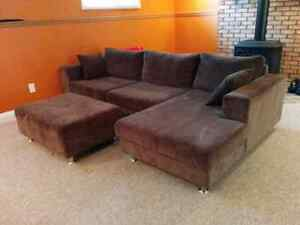 Dark brown olive L shaped couch for sale with Ottoman.