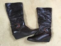 Brown leather Faith boots size 7