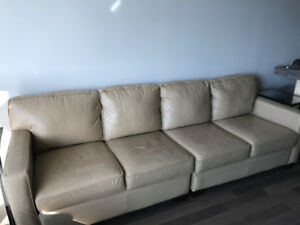 Beige / Tan Leather Couch 3-Piece Sectional or 2-Piece Sofa
