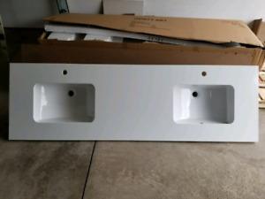 """61"""" double sink vanity countertop"""