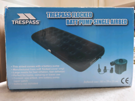 Single Inflatable Mattress Trespass Battery operate Pump Included