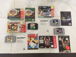 Boxed N64 Games. Mario Party 2, Star Wars, Aidyn Chronicles