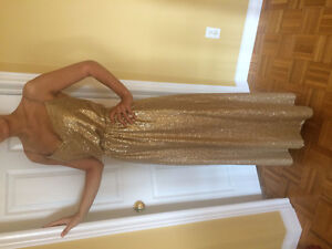 Gold floor length dress- prom / maid of honour / grad