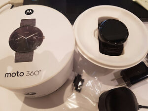 Perfect Condition Moto 360 stainless steel with dark finish