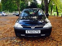 CORSA 2003-1.0 BLACK-VERY GOOD RUNNER-LOW MILEAGES-LONG MOT-FULL SERVICE-HPI CLEAR-3 DOORS BLACK