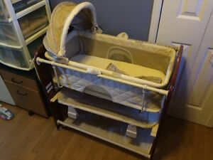 Moses bassinet with convertible wooden stand