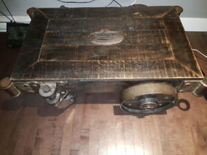 Antique foundry cart coffee table (custom)