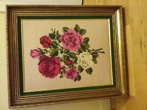 Needle point art decor and picture frame glass
