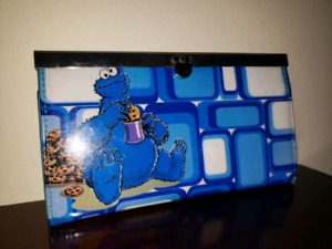 Sesame Street Blue Retro Cookie Monster wallet Clutch Purse