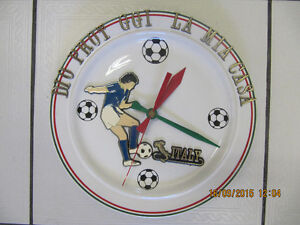 Collectible Italian Soccer Plate ClockwithGod Protect Me Message