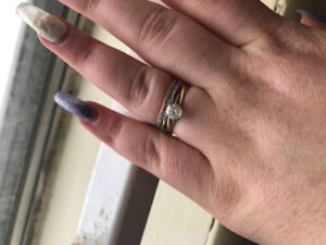 0.7 CT.  14k white and rose gold engagement ring set