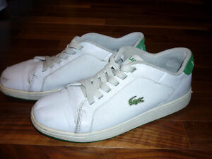 Authentic Lacoste white leather sneaker running shoe size US 9