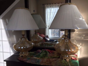 An Amazing Vintage Lamps set , many details, shades are in perfe
