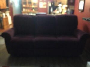 Beautiful wine coloured LAZYBOY brand sofa and loveseat