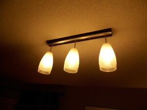 3 pendant light fixture complete with glass shades