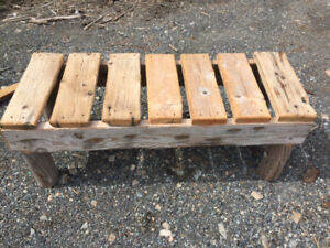 hand made recycled wood bench