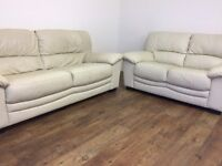 Cream genuine leather 3 & 2 seater sofas from SCS