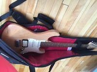 Yamaha Pacifica electric guitar with soft case and amp