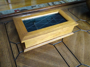 Vintage Jewellery Box Solid Wood with Glass Top - Beautiful