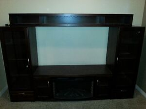 Entertainment center with fire place and lit cabinets MUST GO!!
