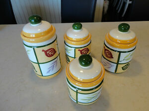 Set of 4 Kitchen Ceramic Cannisters -Flour, Sugar, Tea, whatever