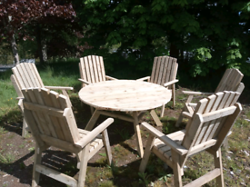 Large wooden garden patio table & 6x armchairs