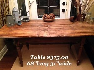 Harvest table made from a antique barn door