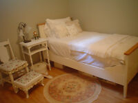 Moving SALE!!White Cottage chic bed side table chairs foot rest
